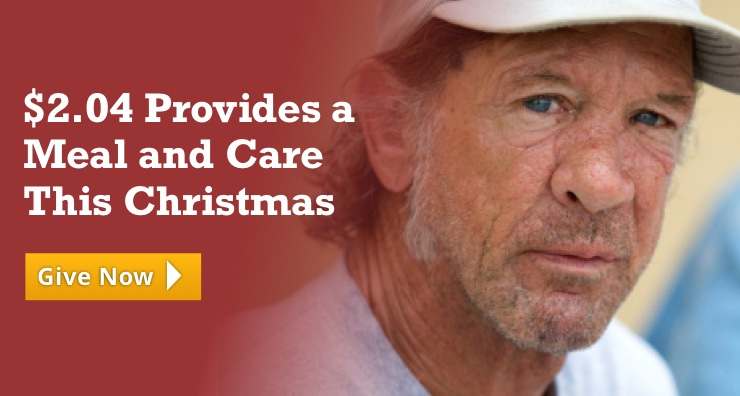 Two dollars and four cents provides a meal and care this Christmas