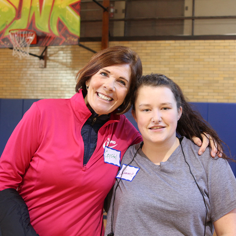 Recovery program and Step Forward volunteerCrystal Zemites with Sammie